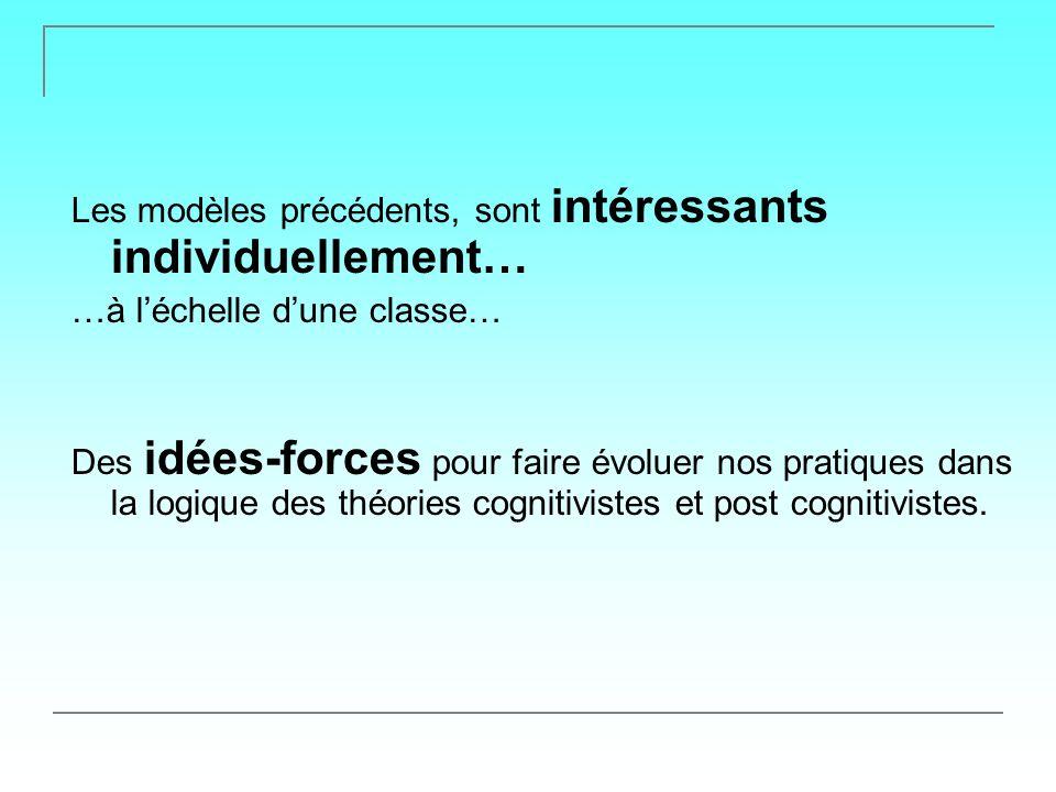 Les modèles précédents, sont intéressants individuellement… …à léchelle dune classe… Des idées-forces pour faire évoluer nos pratiques dans la logique des théories cognitivistes et post cognitivistes.