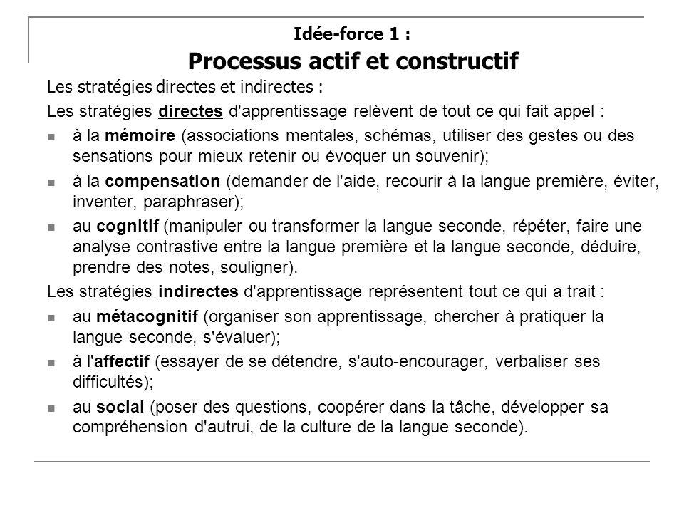 Idée-force 1 : Processus actif et constructif Les stratégies directes et indirectes : Les stratégies directes d'apprentissage relèvent de tout ce qui