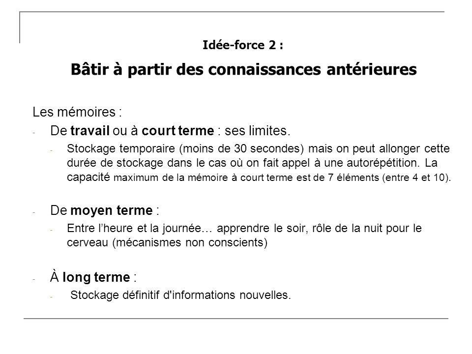 Idée-force 2 : Bâtir à partir des connaissances antérieures Les mémoires : - De travail ou à court terme : ses limites. - Stockage temporaire (moins d