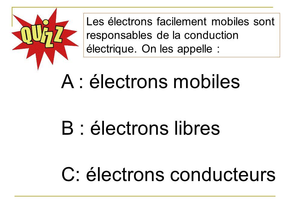 Les électrons facilement mobiles sont responsables de la conduction électrique. On les appelle : A : électrons mobiles B : électrons libres C: électro