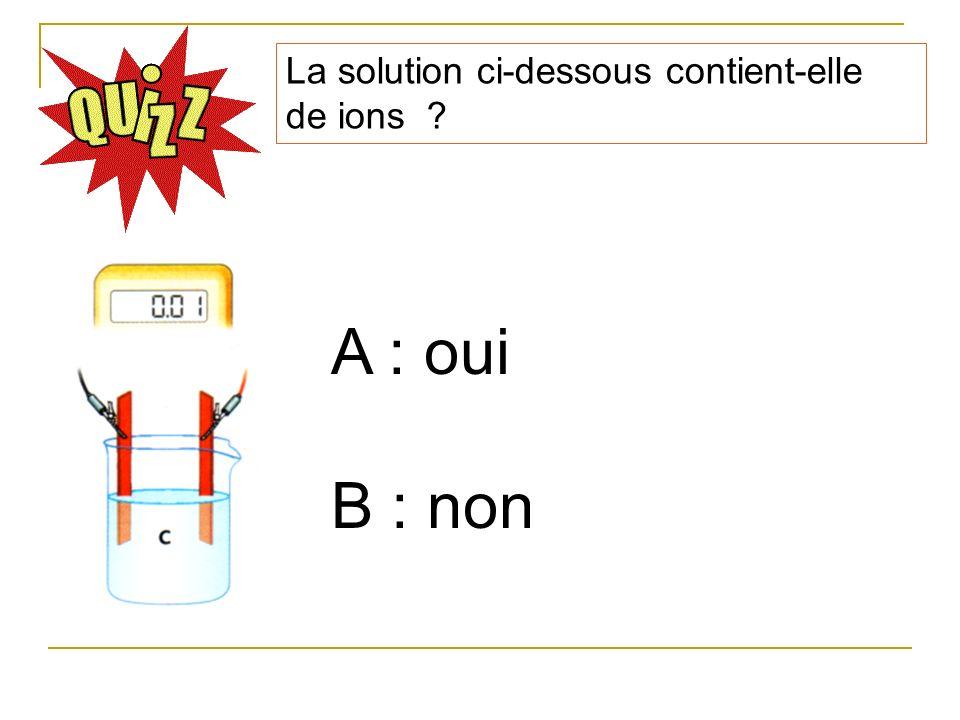 La solution ci-dessous contient-elle de ions ? A : oui B : non
