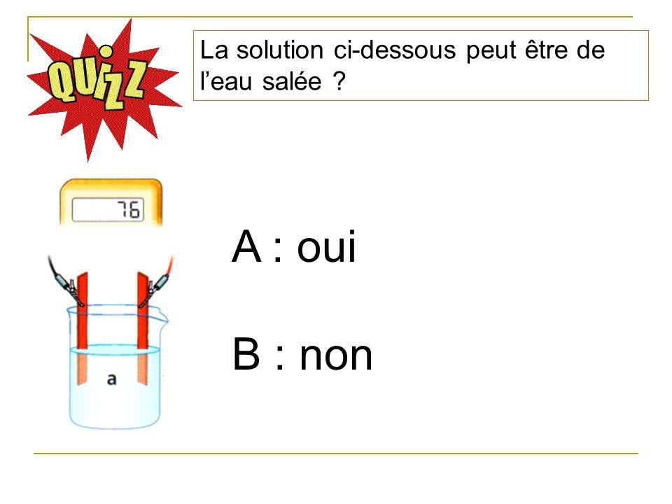 La solution ci-dessous peut être de leau salée ? A : oui B : non