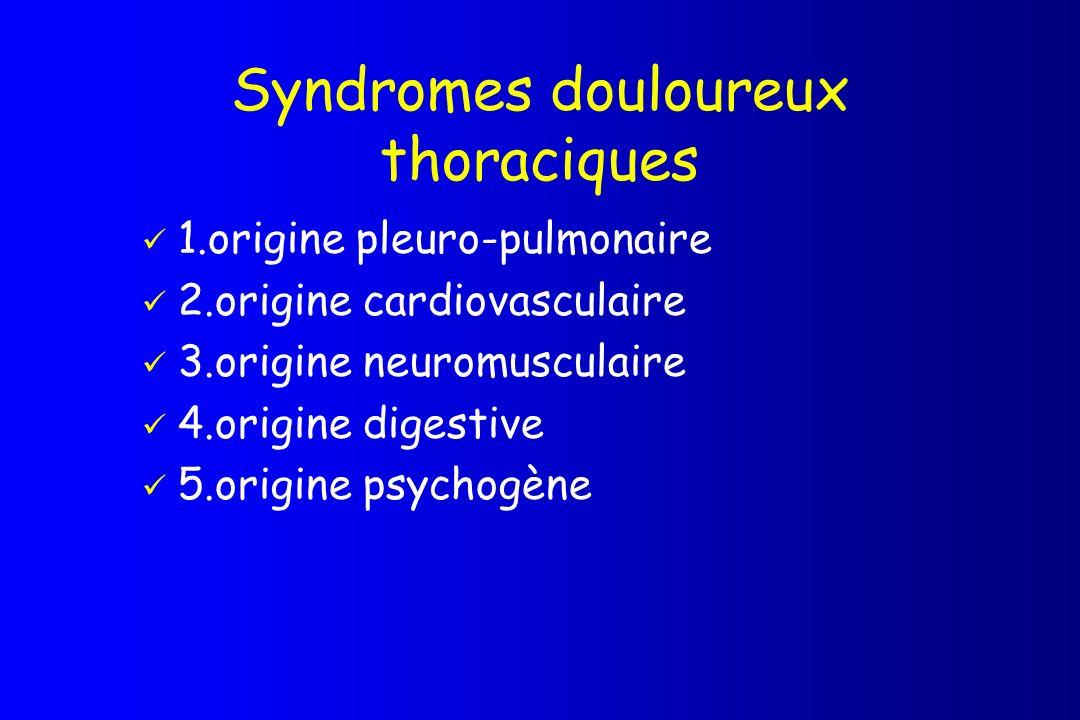 Syndromes douloureux thoraciques 1.origine pleuro-pulmonaire 2.origine cardiovasculaire 3.origine neuromusculaire 4.origine digestive 5.origine psycho