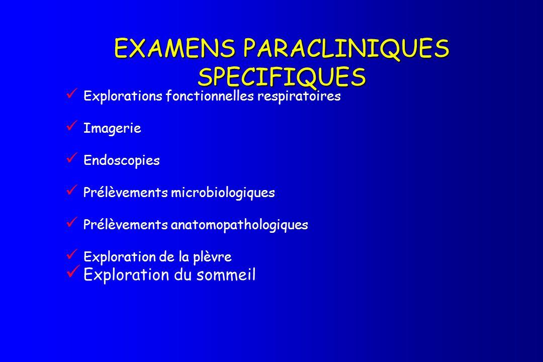 EXAMENS PARACLINIQUES SPECIFIQUES Explorations fonctionnelles respiratoires Imagerie Endoscopies Prélèvements microbiologiques Prélèvements anatomopat