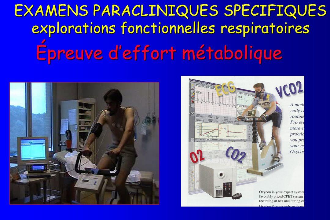 Épreuve deffort métabolique EXAMENS PARACLINIQUES SPECIFIQUES explorations fonctionnelles respiratoires