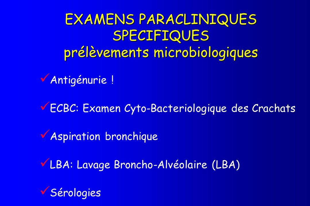 EXAMENS PARACLINIQUES SPECIFIQUES prélèvements microbiologiques Antigénurie ! ECBC: Examen Cyto-Bacteriologique des Crachats Aspiration bronchique LBA