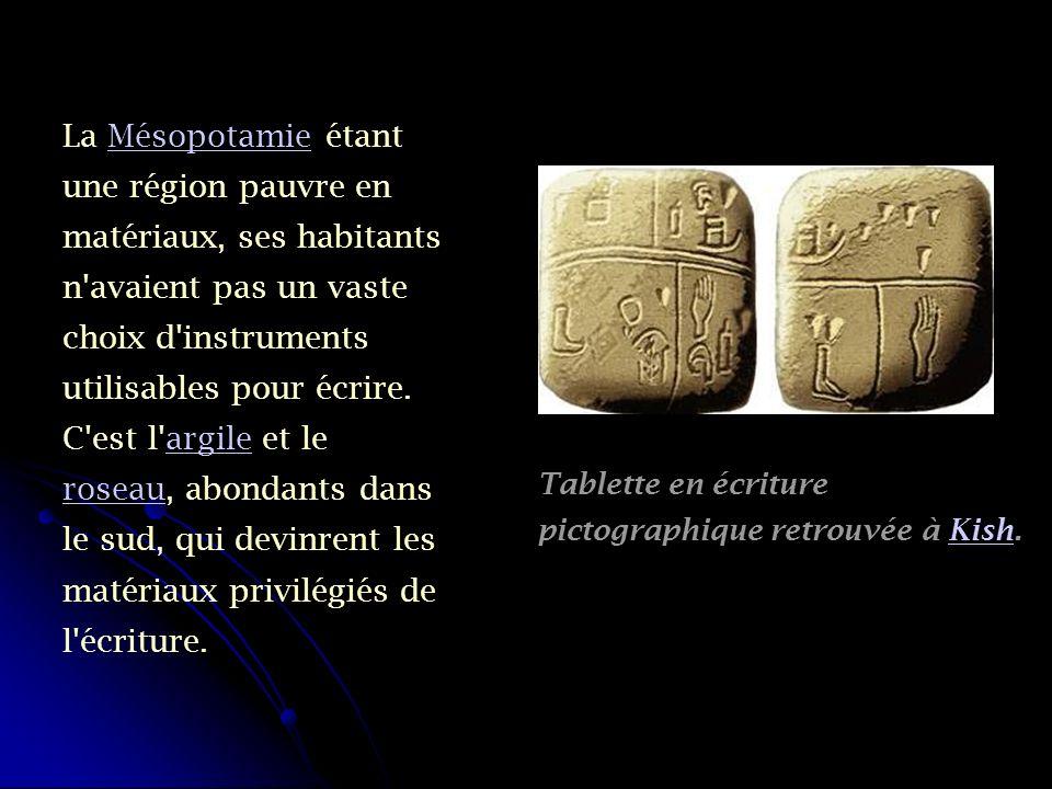 La Mésopotamie étant une région pauvre en matériaux, ses habitants n'avaient pas un vaste choix d'instruments utilisables pour écrire. C'est l'argile