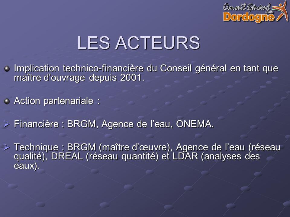 LES ACTEURS Implication technico-financière du Conseil général en tant que maître douvrage depuis 2001.