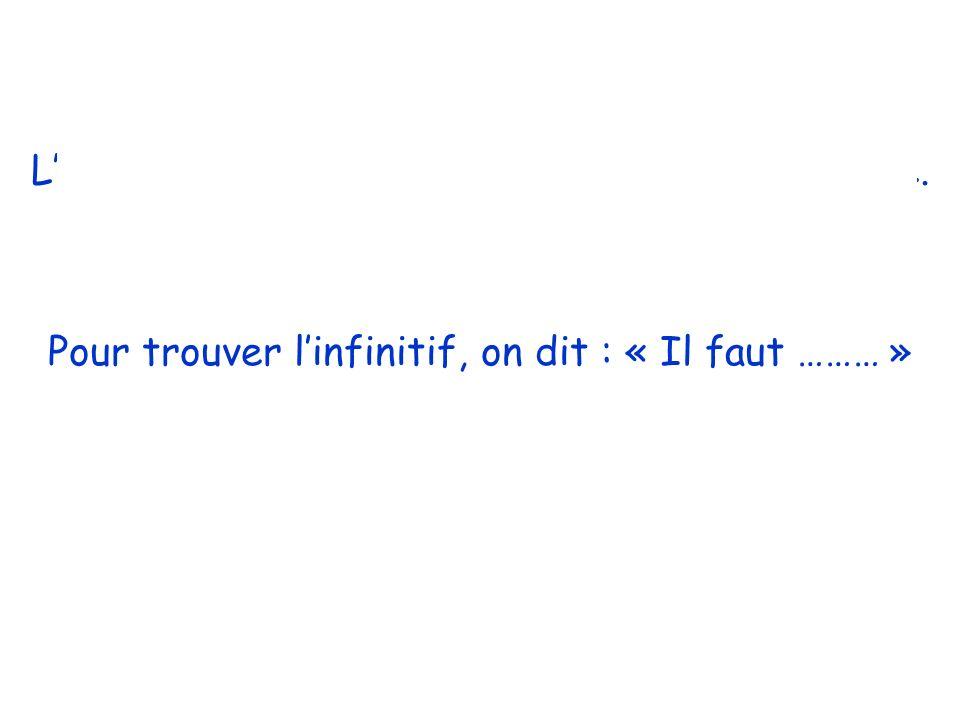 Linfinitif cest un verbe qui Nest PAS conjugué. Pour trouver linfinitif, on dit : « Il faut ……… »