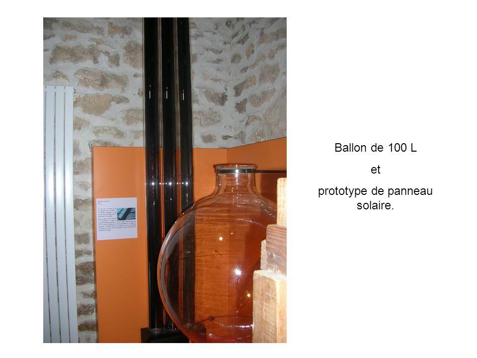 Ballon de 100 L et prototype de panneau solaire.