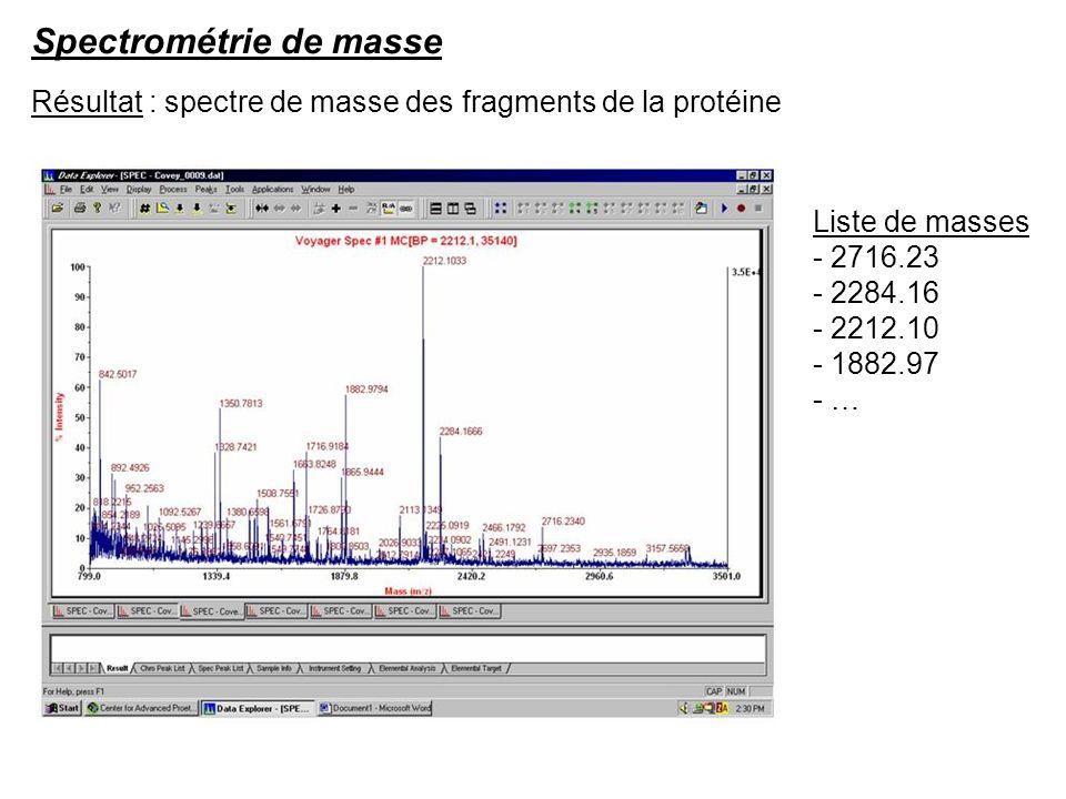 Résultat : spectre de masse des fragments de la protéine Spectrométrie de masse Liste de masses - 2716.23 - 2284.16 - 2212.10 - 1882.97 - …