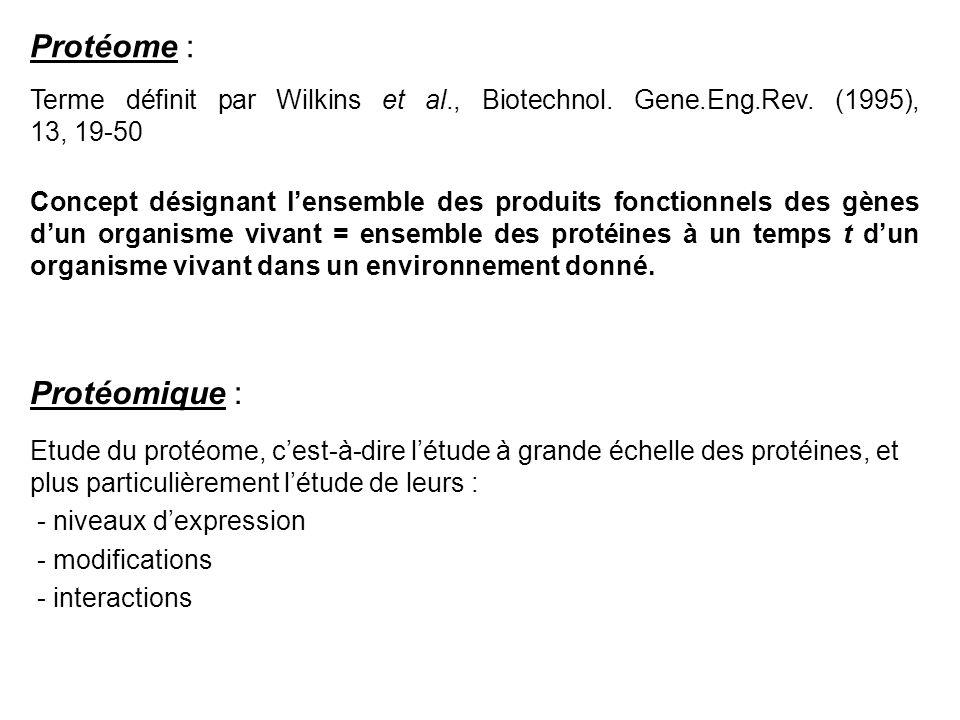 Terme définit par Wilkins et al., Biotechnol. Gene.Eng.Rev. (1995), 13, 19-50 Concept désignant lensemble des produits fonctionnels des gènes dun orga
