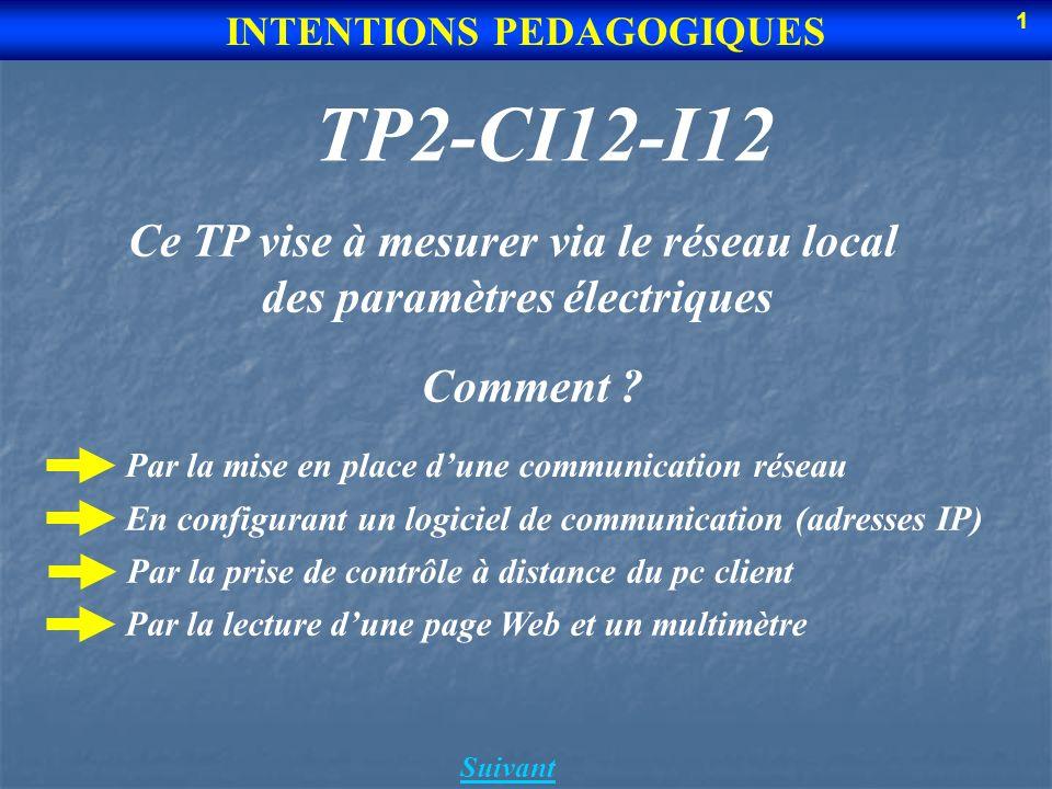 TP2-CI12-I12 Suivant INTENTIONS PEDAGOGIQUES Ce TP vise à mesurer via le réseau local des paramètres électriques Par la mise en place dune communicati