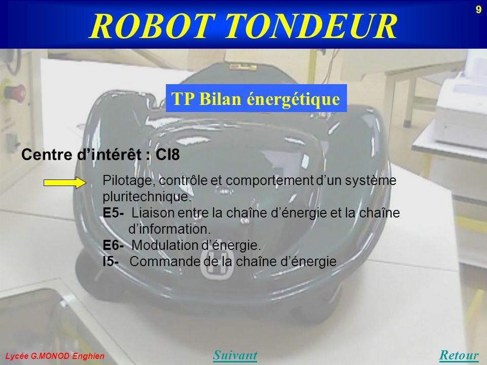 Lycée G.MONOD Enghien TP Bilan énergétique Retour Centre dintérêt : CI8 Pilotage, contrôle et comportement dun système pluritechnique. E5- Liaison ent