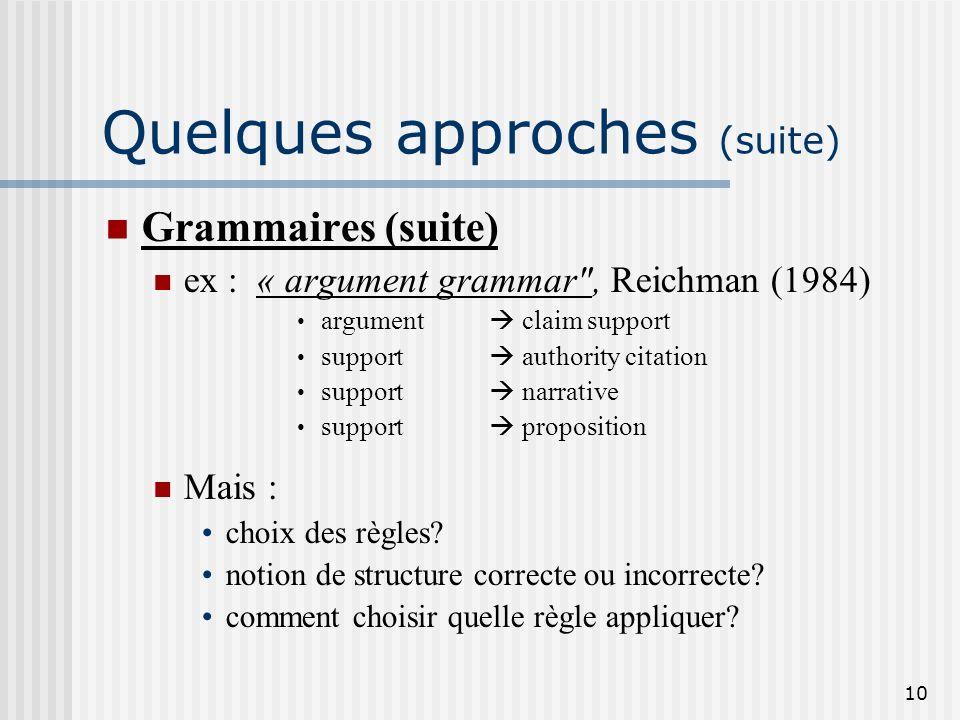 9 Quelques approches (suite) Grammaires Cohérence du discours repose sur un ensemble fini de règles de décomposition (grammaire; type d'information à