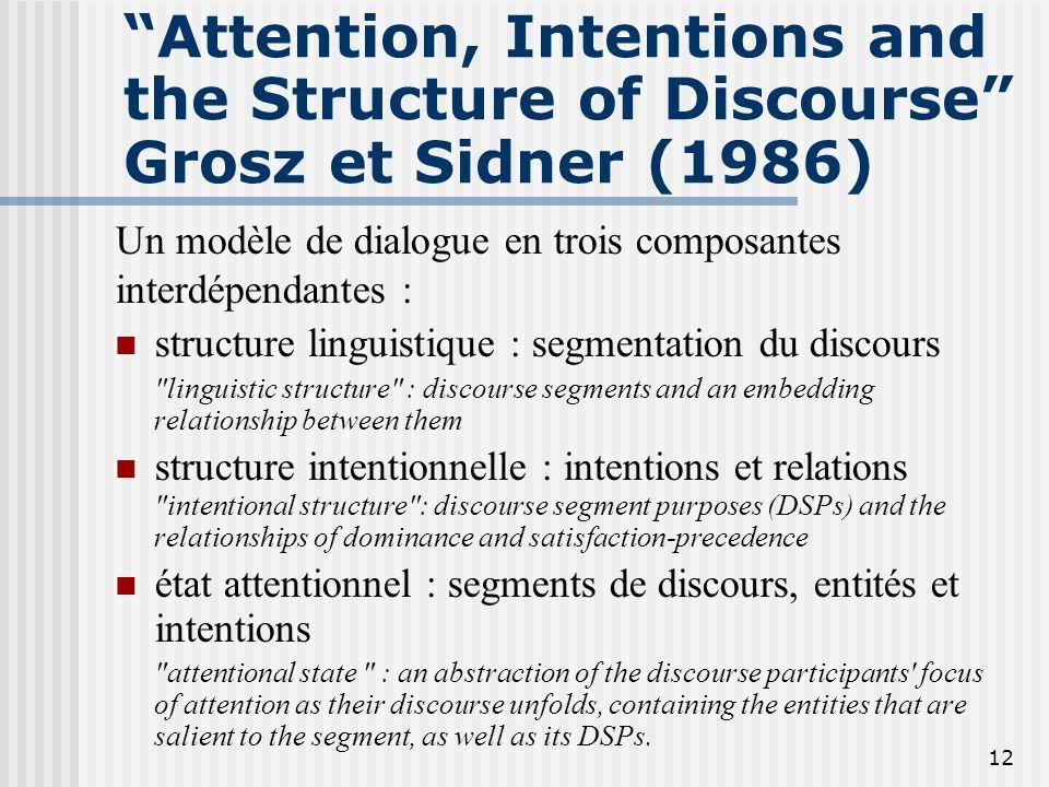 11 Approche de Grosz et Sidner Cohérence (structure) du discours repose sur un ensemble infini d'intentions et un petit ensemble de relations entre in