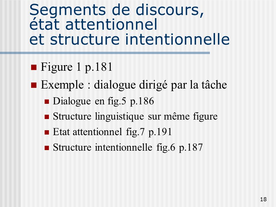 17 Structure intentionnelle (suite) Relations Relations