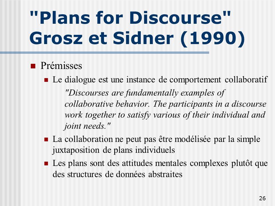 25 Conclusion GS 86 Deux limitations principales structure intentionnelle peu développée pas de proposition de modèle de traitement (