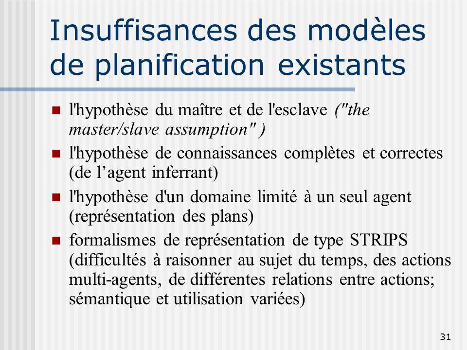 30 Particularités des plans dans le domaine du discours La reconnaissance de plans repose sur des informations partielles Les plans ont pour but d'êtr