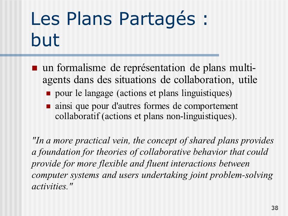 37 Que veut donc dire « avoir un plan » ? Jai un plan qui consiste à obtenir une thèse (A) en étudiant le domaine associé (B1), développant une soluti
