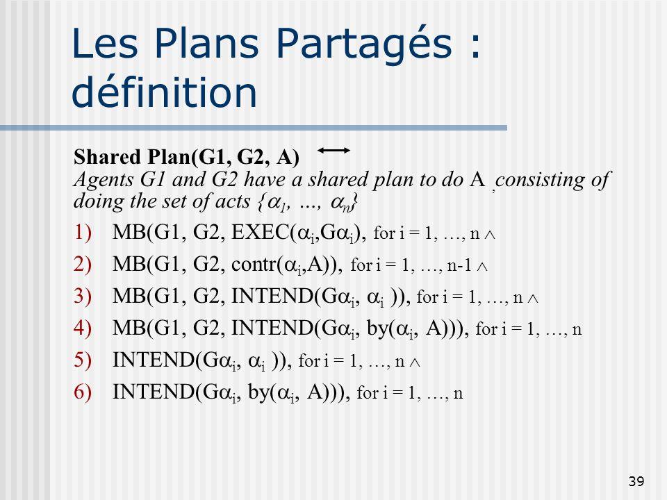 38 Les Plans Partagés : but un formalisme de représentation de plans multi- agents dans des situations de collaboration, utile pour le langage (action
