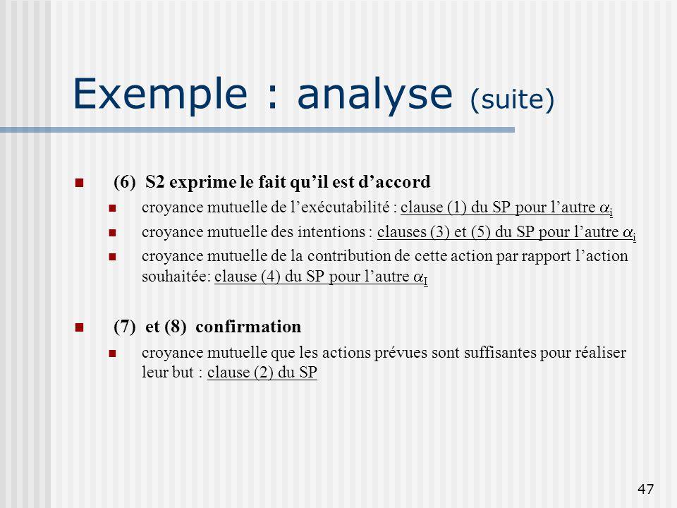 46 Exemple : analyse (suite) (4) S1 exprime le fait quil est daccord croyance mutuelle de lexécutabilité : clause (1) du SP pour lun des i croyance mu