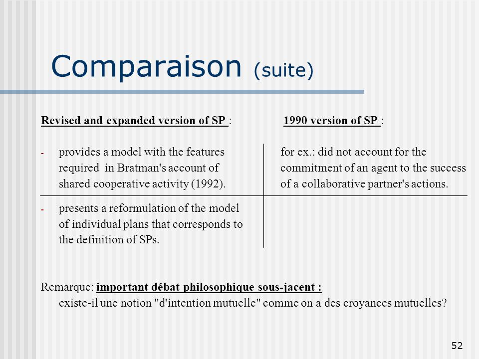 52 Comparaison (suite) Revised and expanded version of SP : 1990 version of SP : - provides a model with the features for ex.: did not account for the required in Bratman s account of commitment of an agent to the success shared cooperative activity (1992).