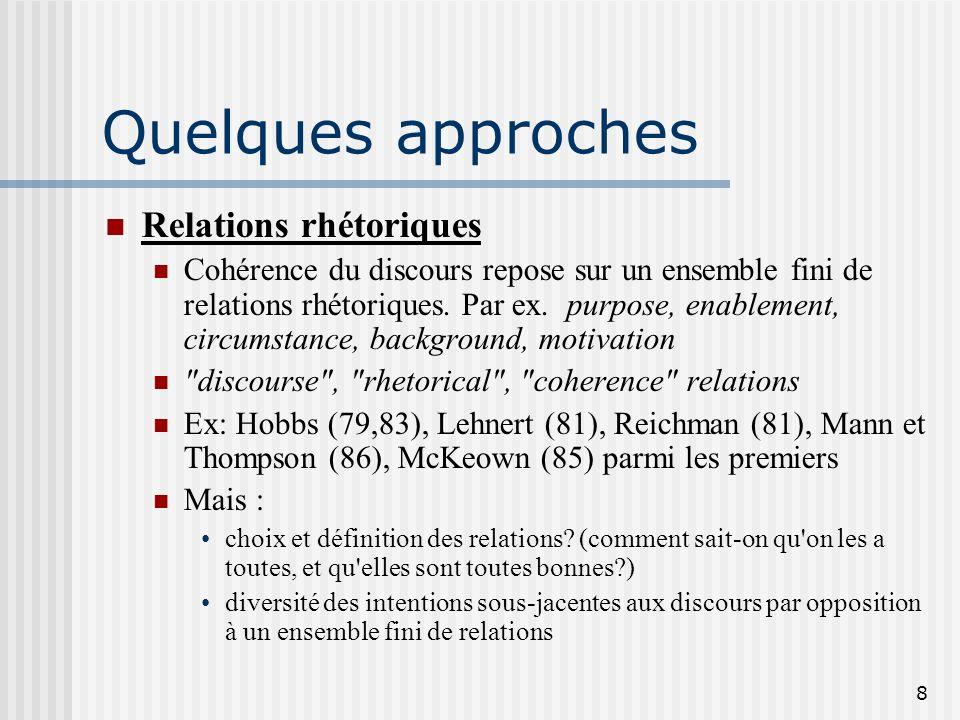 7 Questions : Sur quoi repose la structure dun discours ? Comment la déterminer ? Quelles infos sont pertinentes ? Quelles sont les relations entre le