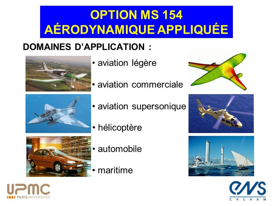 DOMAINES DAPPLICATION : OPTION MS 154 AÉRODYNAMIQUE APPLIQUÉE aviation légère aviation commerciale aviation supersonique automobile hélicoptère mariti
