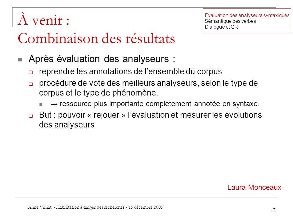 Anne Vilnat - Habilitation à diriger des recherches - 15 décembre 2005 17 À venir : Combinaison des résultats Après évaluation des analyseurs : repren