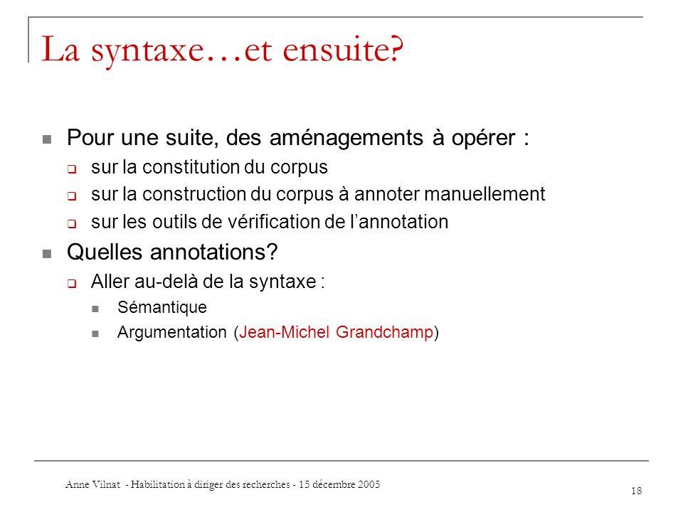 Anne Vilnat - Habilitation à diriger des recherches - 15 décembre 2005 18 La syntaxe…et ensuite? Pour une suite, des aménagements à opérer : sur la co