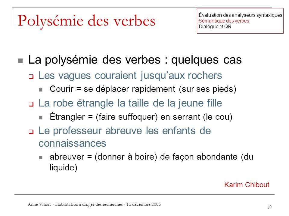 Anne Vilnat - Habilitation à diriger des recherches - 15 décembre 2005 19 Polysémie des verbes La polysémie des verbes : quelques cas Les vagues coura