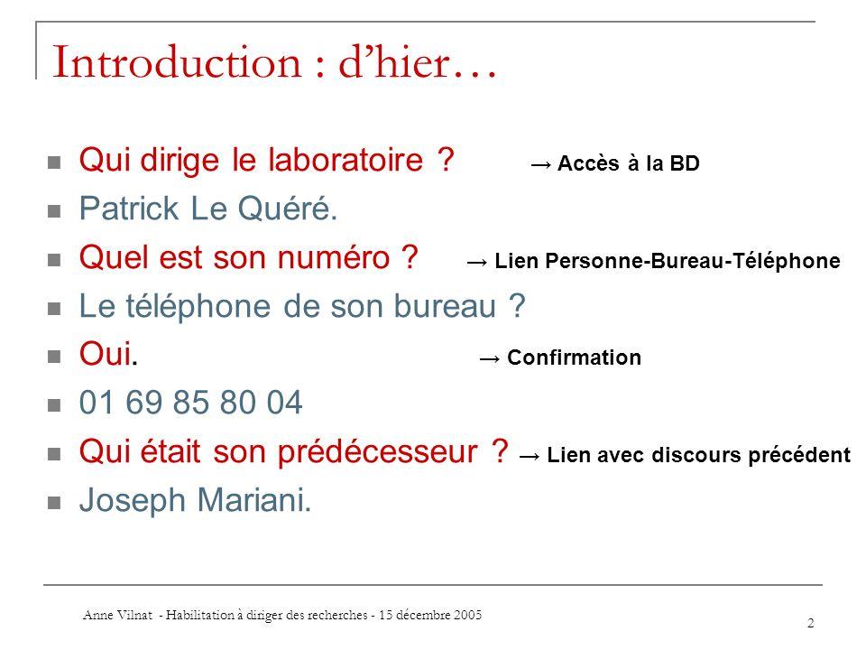 Anne Vilnat - Habilitation à diriger des recherches - 15 décembre 2005 2 Introduction : dhier… Qui dirige le laboratoire ? Accès à la BD Patrick Le Qu