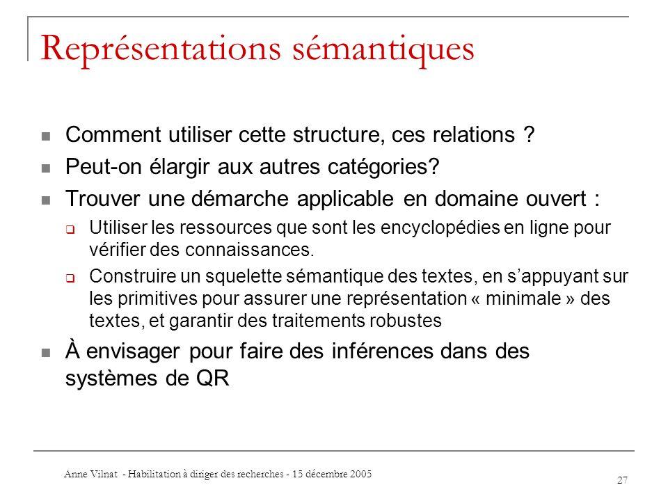 Anne Vilnat - Habilitation à diriger des recherches - 15 décembre 2005 27 Représentations sémantiques Comment utiliser cette structure, ces relations