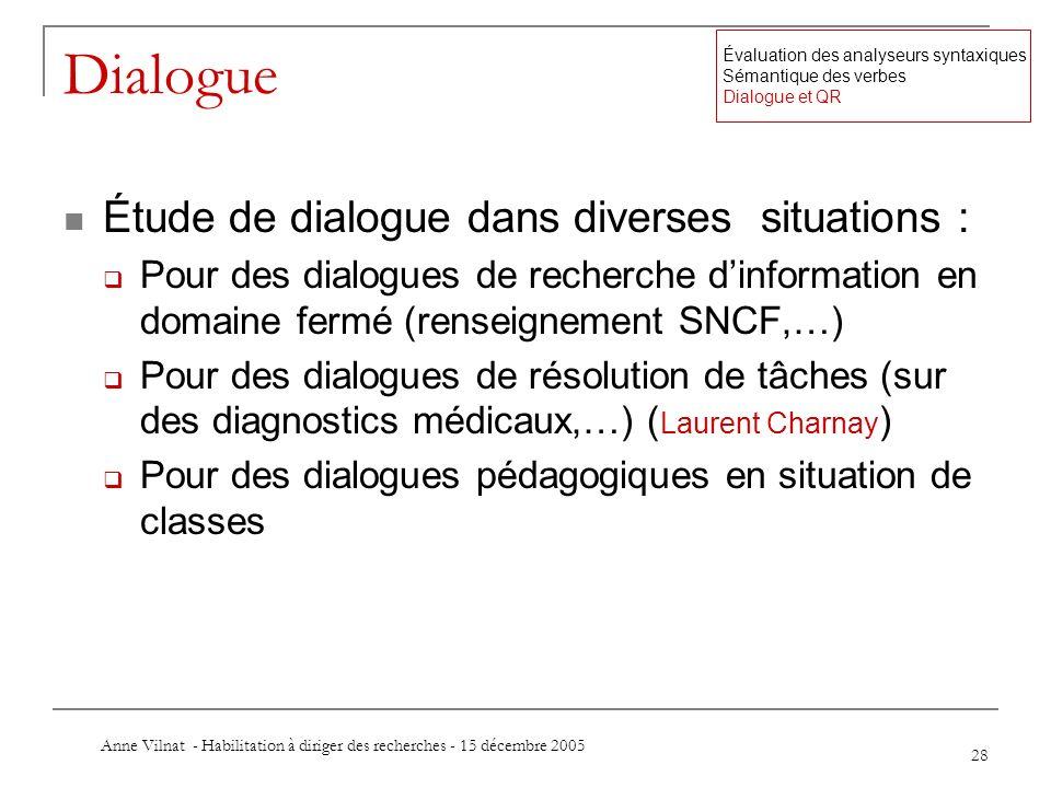 Anne Vilnat - Habilitation à diriger des recherches - 15 décembre 2005 28 Dialogue Étude de dialogue dans diverses situations : Pour des dialogues de