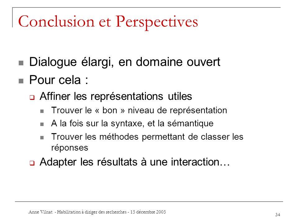 Anne Vilnat - Habilitation à diriger des recherches - 15 décembre 2005 34 Conclusion et Perspectives Dialogue élargi, en domaine ouvert Pour cela : Af