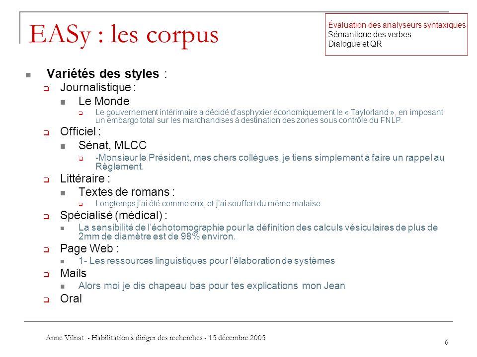 Anne Vilnat - Habilitation à diriger des recherches - 15 décembre 2005 6 EASy : les corpus Variétés des styles : Journalistique : Le Monde Le gouverne