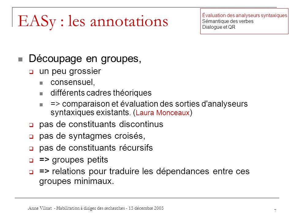 Anne Vilnat - Habilitation à diriger des recherches - 15 décembre 2005 7 EASy : les annotations Découpage en groupes, un peu grossier consensuel, diff