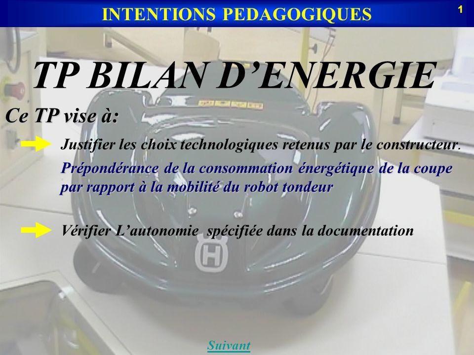 TP BILAN DENERGIE INTENTIONS PEDAGOGIQUES Suivant Ce TP vise à: Prépondérance de la consommation énergétique de la coupe par rapport à la mobilité du