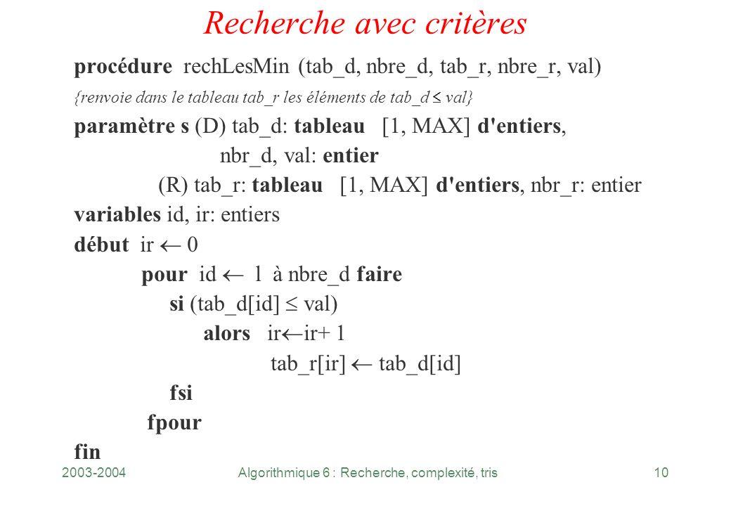 2003-2004Algorithmique 6 : Recherche, complexité, tris10 Recherche avec critères procédure rechLesMin (tab_d, nbre_d, tab_r, nbre_r, val) {renvoie dan