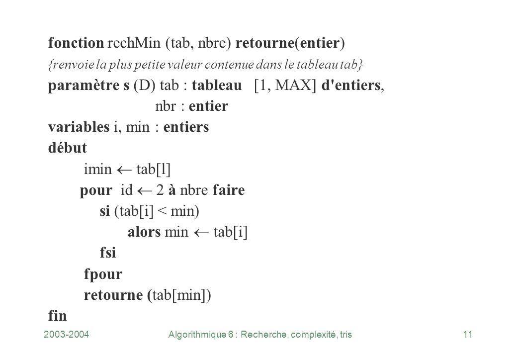 2003-2004Algorithmique 6 : Recherche, complexité, tris11 fonction rechMin (tab, nbre) retourne(entier) {renvoie la plus petite valeur contenue dans le