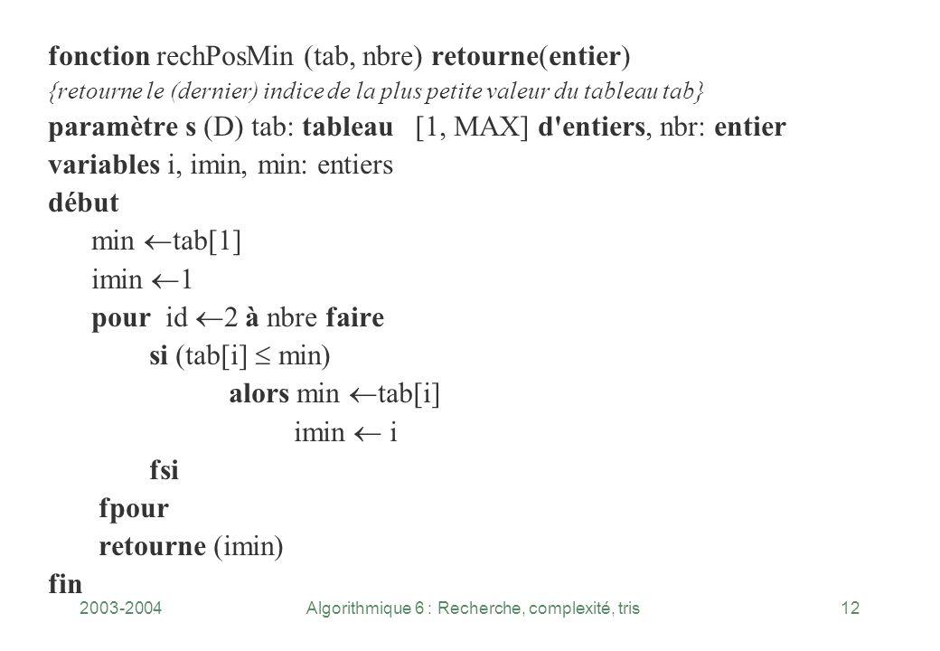 2003-2004Algorithmique 6 : Recherche, complexité, tris12 fonction rechPosMin (tab, nbre) retourne(entier) {retourne le (dernier) indice de la plus pet