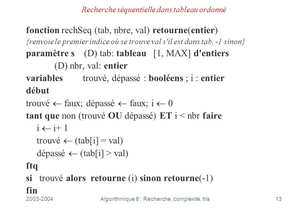 2003-2004Algorithmique 6 : Recherche, complexité, tris13 Recherche séquentielle dans tableau ordonné fonction rechSeq (tab, nbre, val) retourne(entier