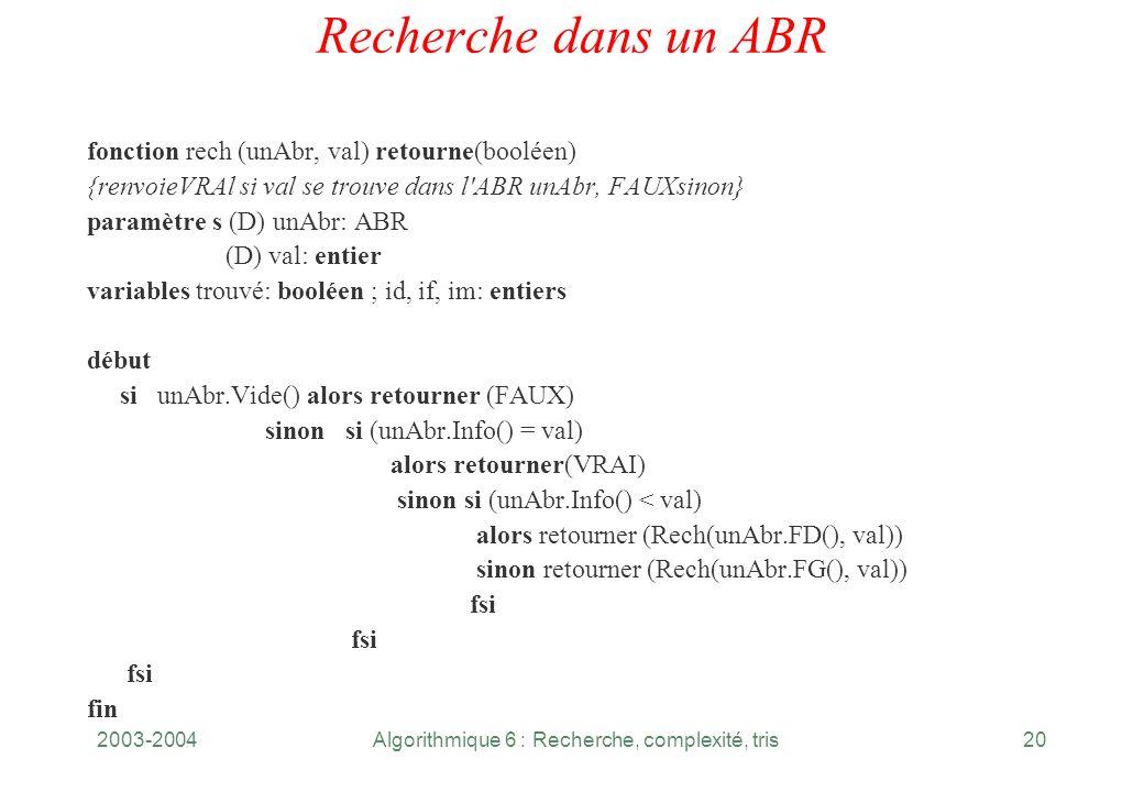 2003-2004Algorithmique 6 : Recherche, complexité, tris20 Recherche dans un ABR fonction rech (unAbr, val) retourne(booléen) {renvoieVRAl si val se tro
