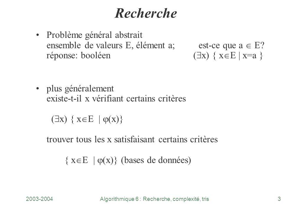2003-2004Algorithmique 6 : Recherche, complexité, tris3 Recherche Problème général abstrait ensemble de valeurs E, élément a; est ce que a E? réponse: