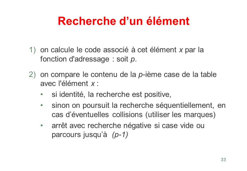 33 Recherche dun élément 1) on calcule le code associé à cet élément x par la fonction d'adressage : soit p. 2) on compare le contenu de la p-ième cas