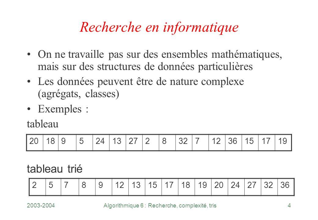 2003-2004Algorithmique 6 : Recherche, complexité, tris4 Recherche en informatique On ne travaille pas sur des ensembles mathématiques, mais sur des st