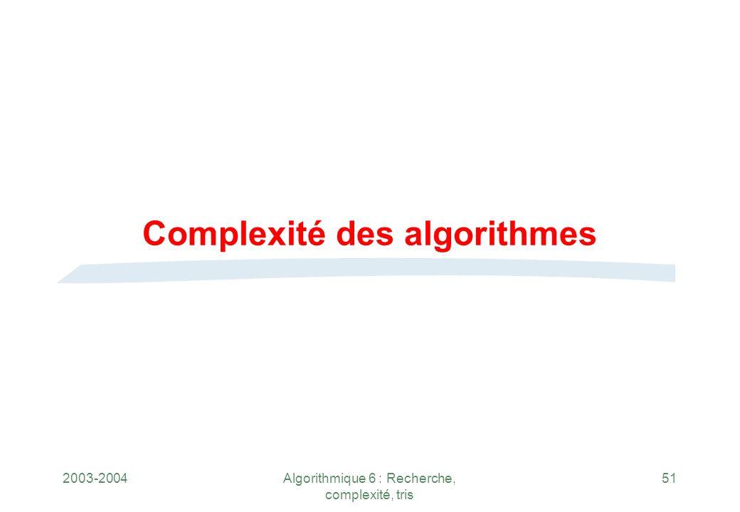 2003-2004Algorithmique 6 : Recherche, complexité, tris 51 Complexité des algorithmes