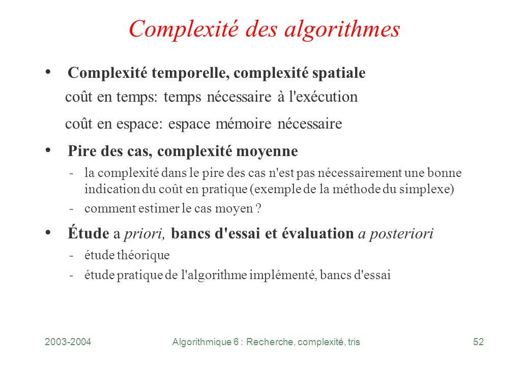 2003-2004Algorithmique 6 : Recherche, complexité, tris52 Complexité des algorithmes Complexité temporelle, complexité spatiale coût en temps: temps né