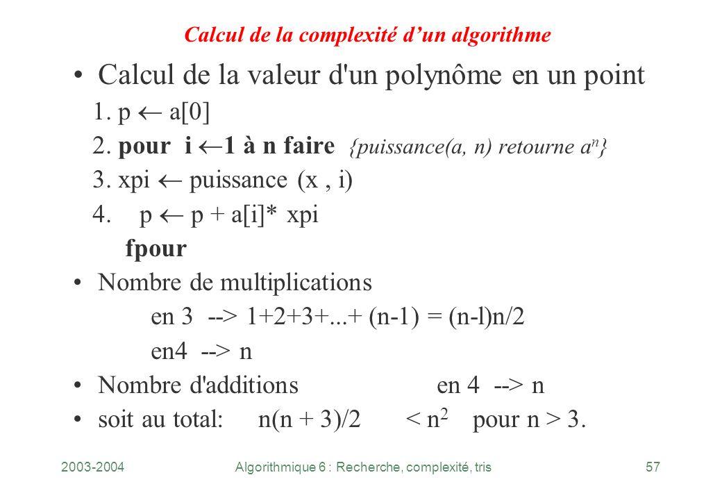 2003-2004Algorithmique 6 : Recherche, complexité, tris57 Calcul de la complexité dun algorithme Calcul de la valeur d'un polynôme en un point 1. p a[0